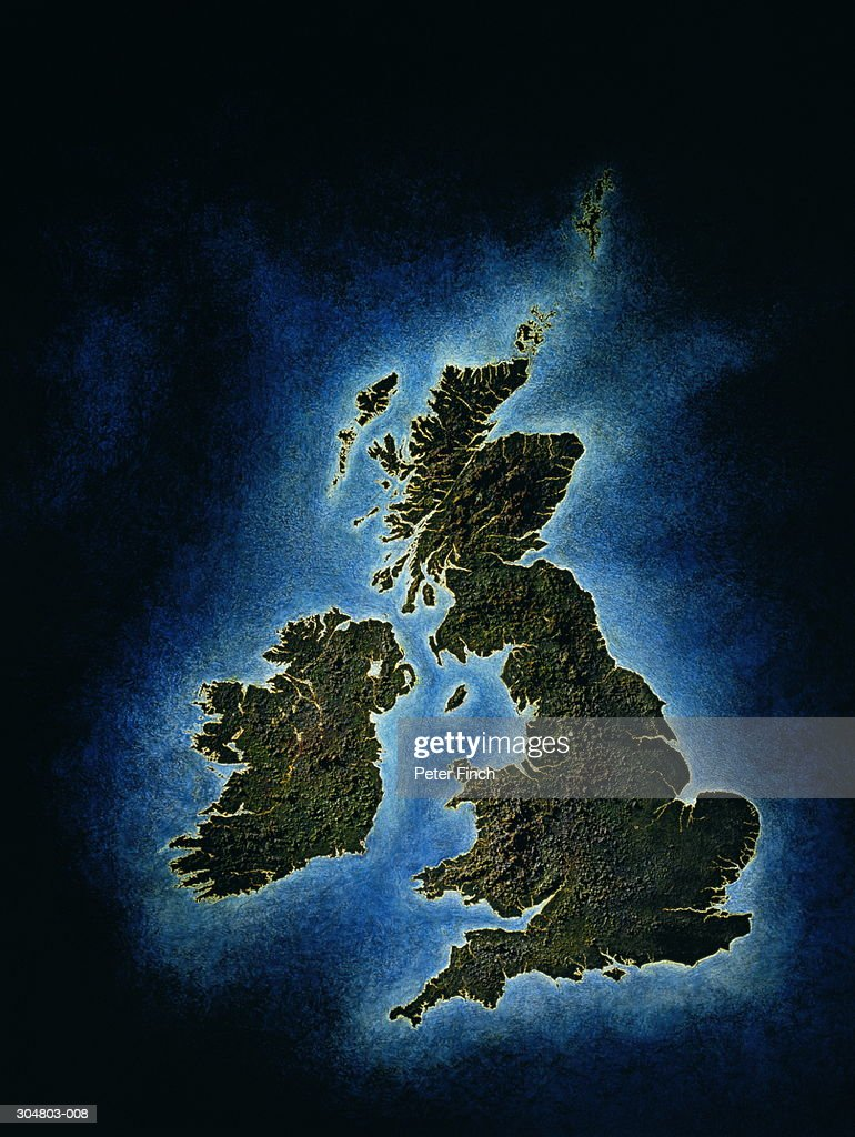Relief map of United Kingom : Stock Photo