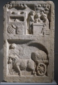 Relief of a tavern scene and the transportation of barrels detail of a relief from a funerary monument found in Saint Maximin France Roman...