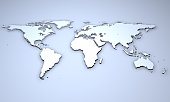 3D Illustration - Relief of a world map.