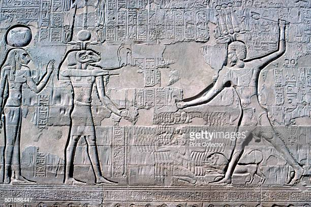 Relief of Pharaoh before Knum Sekhmet Temple of Khnum Esna Egypt Ptolemaic and Roman Periods