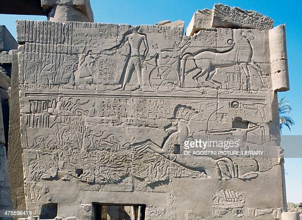 Relief of the Battle of Kadesh won by Ramesses II in 1294 BC Karnak Temple Complex Luxor Thebes Egypt Egyptian civilisation New Kingdom Dynasty XVII