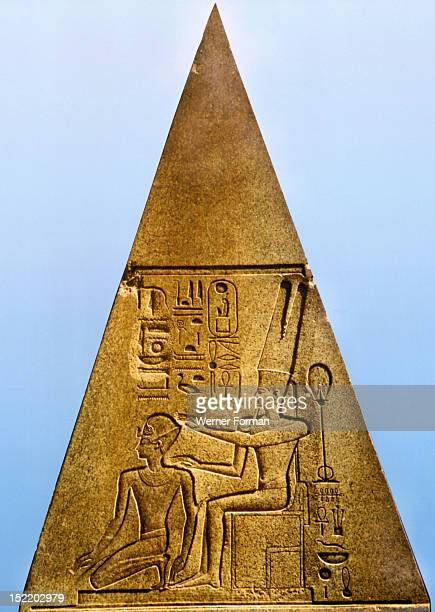 Relief on a fallen obelisk at Karnak Queen Hatshepsut dressed in the costume of a Pharaoh and depicted as a man is crowned by the god Amun Amun and...