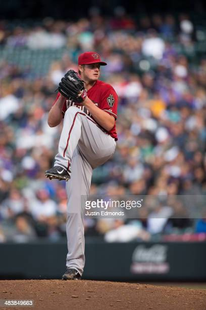 Relief pitcher Addison Reed of the Arizona Diamondbacks in action against the Colorado Rockies at Coors Field on April 6 2014 in Denver Colorado