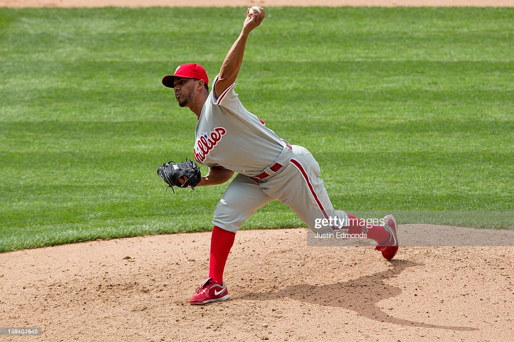 Relief pitcher <a gi-track='captionPersonalityLinkClicked' href=/galleries/search?phrase=Antonio+Bastardo&family=editorial&specificpeople=5758440 ng-click='$event.stopPropagation()'>Antonio Bastardo</a> #37 of the Philadelphia Phillies delivers to home plate during the ninth inning against the Colorado Rockies at Coors Field on July 15, 2012 in Denver, Colorado. The Phillies defeated the Rockies 5-1.