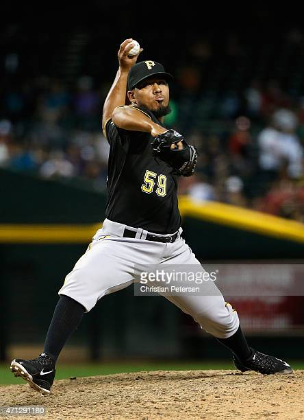 Relief pitcher Antonio Bastardo of the Pittsburgh Pirates pitches against the Arizona Diamondbacks during the ninth inning of the MLB game at Chase...