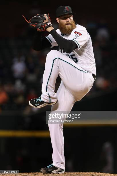 Relief pitcher Archie Bradley of the Arizona Diamondbacks pitches against the Detroit Tigers during the MLB game at Chase Field on May 9 2017 in...