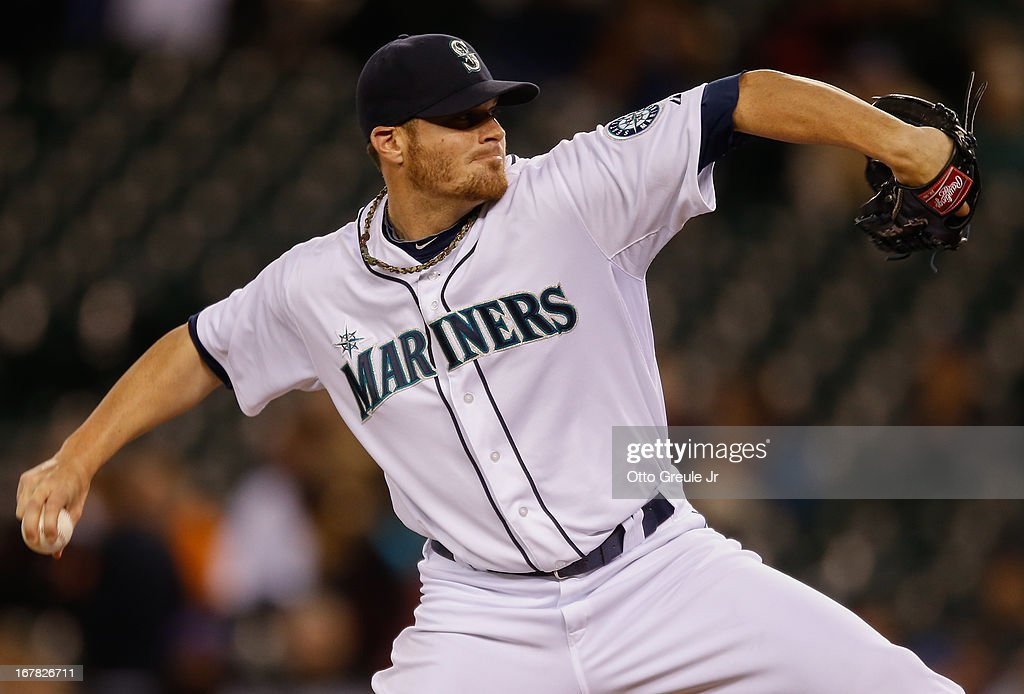 Relief pitcher <a gi-track='captionPersonalityLinkClicked' href=/galleries/search?phrase=Blake+Beavan&family=editorial&specificpeople=7089112 ng-click='$event.stopPropagation()'>Blake Beavan</a> #49 of the Seattle Mariners pitches against the Baltimore Orioles at Safeco Field on April 30, 2013 in Seattle, Washington.