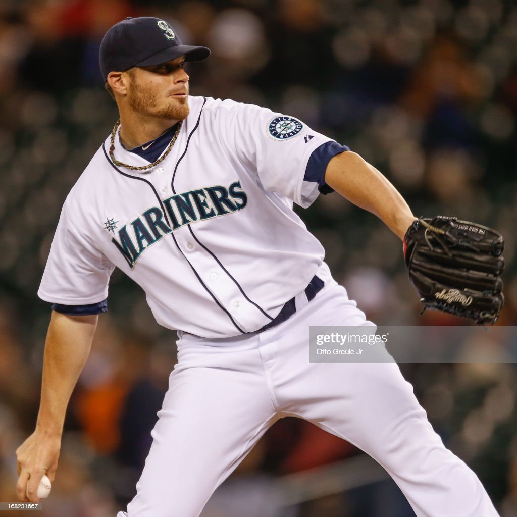 Relief pitcher Blake Beavan #49 of the Seattle Mariners pitches against the Baltimore Orioles at Safeco Field on April 30, 2013 in Seattle, Washington.