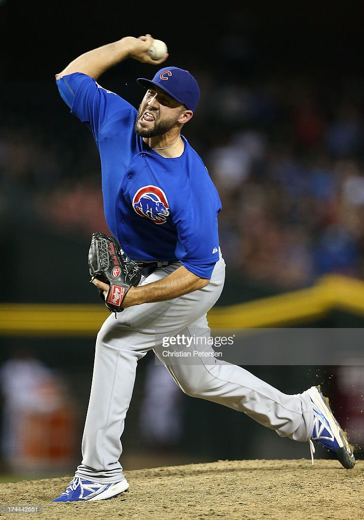Relief pitcher Blake Parker #50 of the Chicago Cubs pitches against the Arizona Diamondbacks during the MLB game at Chase Field on July 25, 2013 in Phoenix, Arizona.