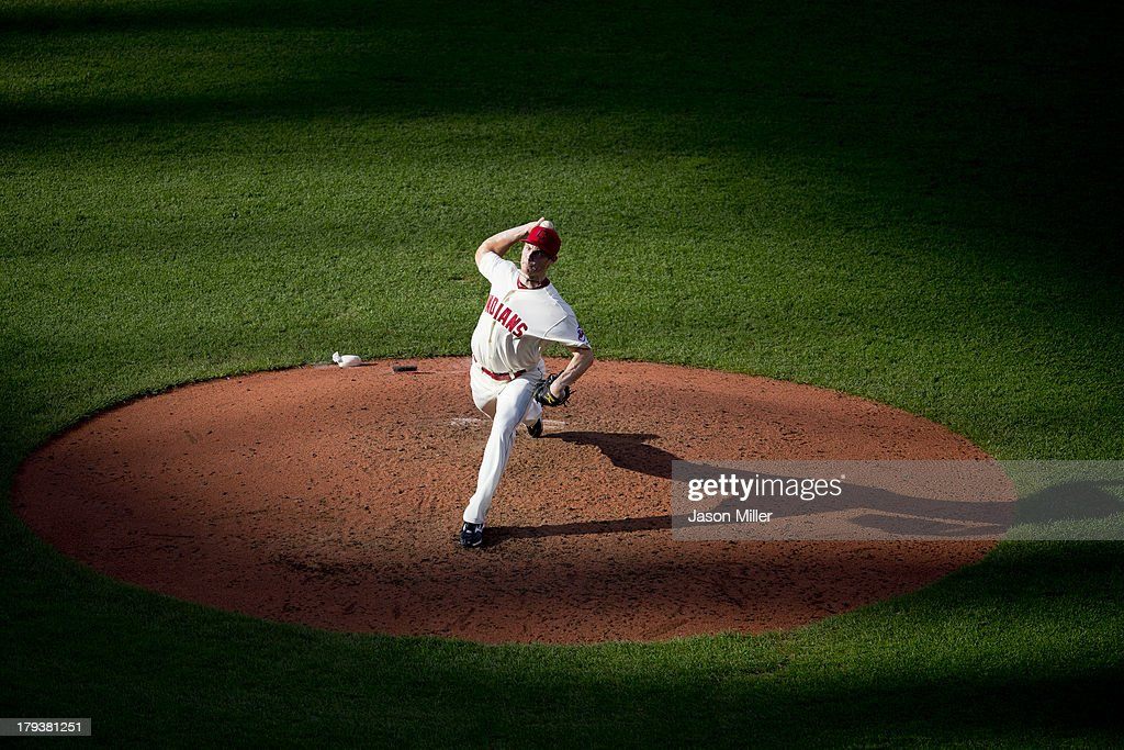 Relief pitcher <a gi-track='captionPersonalityLinkClicked' href=/galleries/search?phrase=Blake+Wood&family=editorial&specificpeople=4946589 ng-click='$event.stopPropagation()'>Blake Wood</a> #49 of the Cleveland Indians pitches during the sixth inning against the Baltimore Orioles at Progressive Field on September 2, 2013 in Cleveland, Ohio.