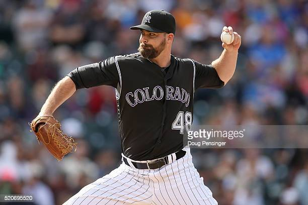 Relief pitcher Boone Logan of the Colorado Rockies deliver against the San Diego Padres at Coors Field on April 10 2016 in Denver Colorado The...