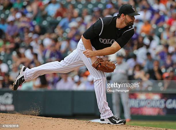 Relief pitcher Boone Logan of the Colorado Rockies delivers against the Miami Marlins at Coors Field on June 7 2015 in Denver Colorado Logan...