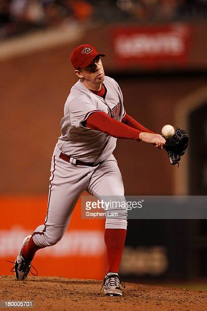 Relief pitcher Brad Ziegler of the Arizona Diamondbacks delivers a pitch against the San Francisco Giants during the ninth inning at ATT Park on...