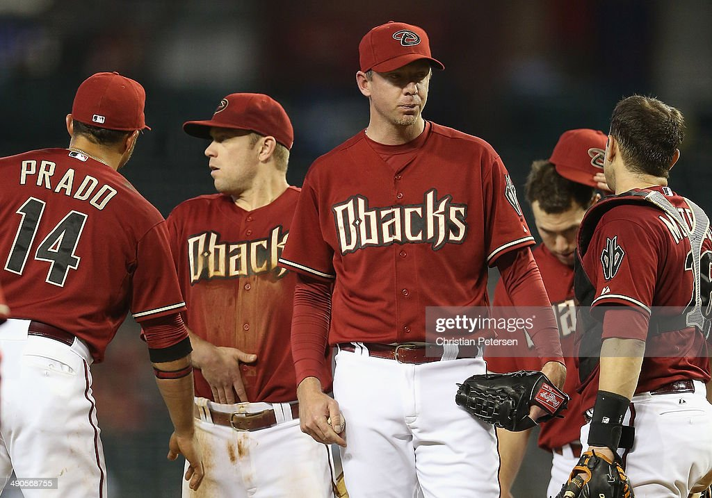 Relief pitcher <a gi-track='captionPersonalityLinkClicked' href=/galleries/search?phrase=Brad+Ziegler&family=editorial&specificpeople=4921772 ng-click='$event.stopPropagation()'>Brad Ziegler</a> #29 of the Arizona Diamondbacks reacts on the mound before being removed during the ninth inning of the MLB game against the Washington Nationals at Chase Field on May 14, 2014 in Phoenix, Arizona. The Nationals defeated the Diamondbacks 5-1.