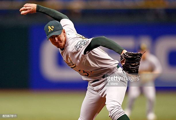 Relief pitcher Brad Ziegler of the Oakland Athletics pitches against the Tampa Bay Rays during the game on July 22 2008 at Tropicana Field in St...