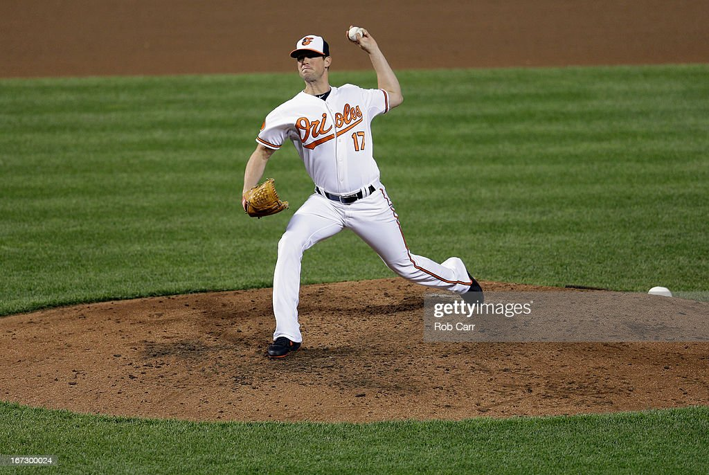 Relief pitcher <a gi-track='captionPersonalityLinkClicked' href=/galleries/search?phrase=Brian+Matusz&family=editorial&specificpeople=4412757 ng-click='$event.stopPropagation()'>Brian Matusz</a> #17 of the Baltimore Orioles throws to a Toronto Blue Jays batter during the eighth inning of the Orioles 4-3 win at Oriole Park at Camden Yards on April 23, 2013 in Baltimore, Maryland.