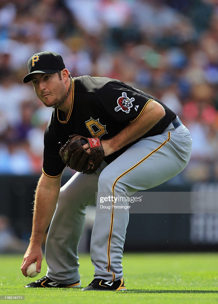 Relief pitcher Bryan Morris #29 of the Pittsburgh Pirates fields a ground ball against the Colorado Rockies at Coors Field on August 11, 2013 in Denver, Colorado. Morris collected the loss as the Rockies defeated the Pirates 3-2 and swept the three game series.