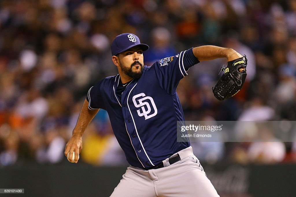 Relief pitcher <a gi-track='captionPersonalityLinkClicked' href=/galleries/search?phrase=Carlos+Villanueva+-+Joueur+de+baseball&family=editorial&specificpeople=10553069 ng-click='$event.stopPropagation()'>Carlos Villanueva</a> #23 of the San Diego Padres delivers to home plate during the sixth inning against the Colorado Rockies at Coors Field on April 9, 2016 in Denver, Colorado. The Padres defeated the Rockies 16-3.