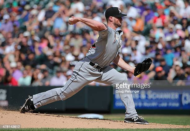 Relief pitcher Carter Capps of the Miami Marlins delivers against the Colorado Rockies at Coors Field on June 7 2015 in Denver Colorado
