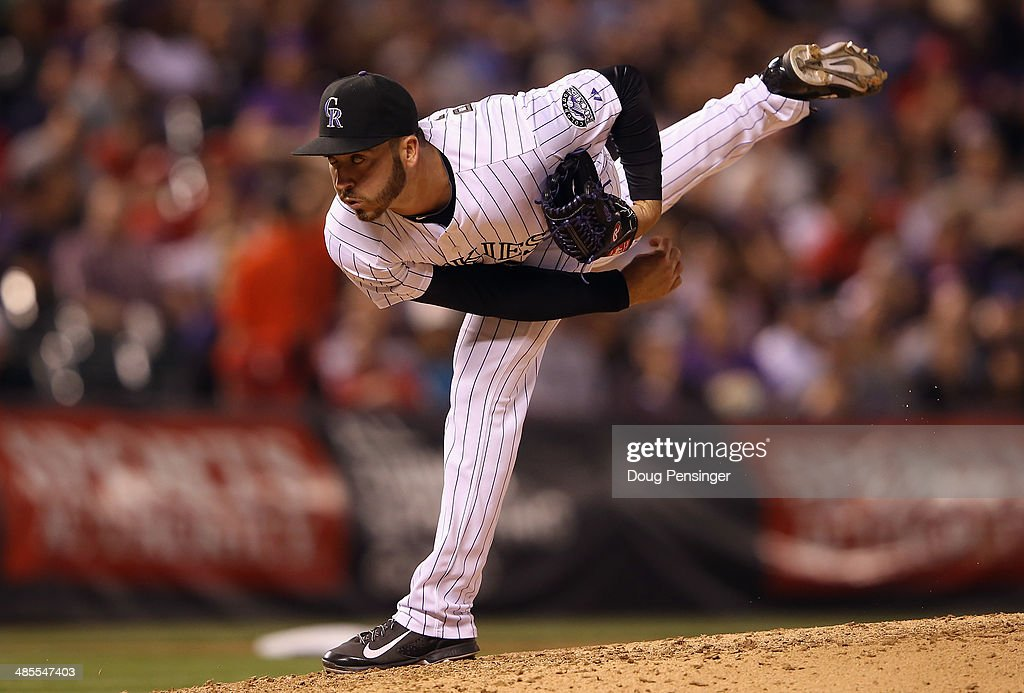 Relief pitcher Chad Bettis #35 of the Colorado Rockies delivers against the Philadelphia Phillies at Coors Field on April 18, 2014 in Denver, Colorado.