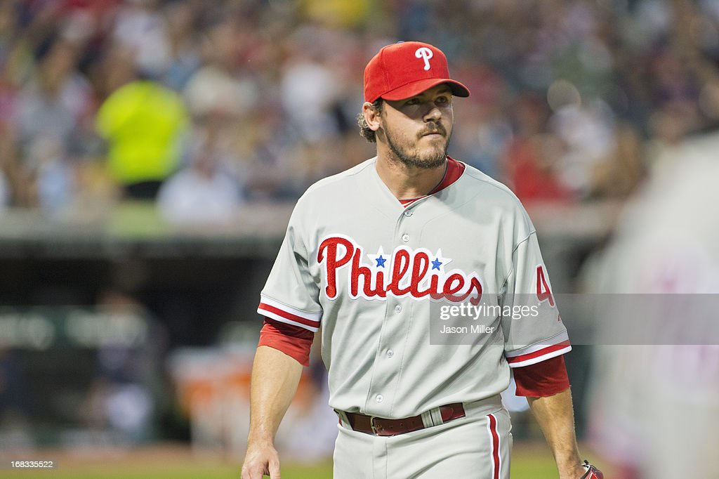 Relief pitcher Chad Durbin #45 of the Philadelphia Phillies walks to the dugout after giving up four runs during the fifth inning against the Cleveland Indians at Progressive Field on April 30, 2013 in Cleveland, Ohio.