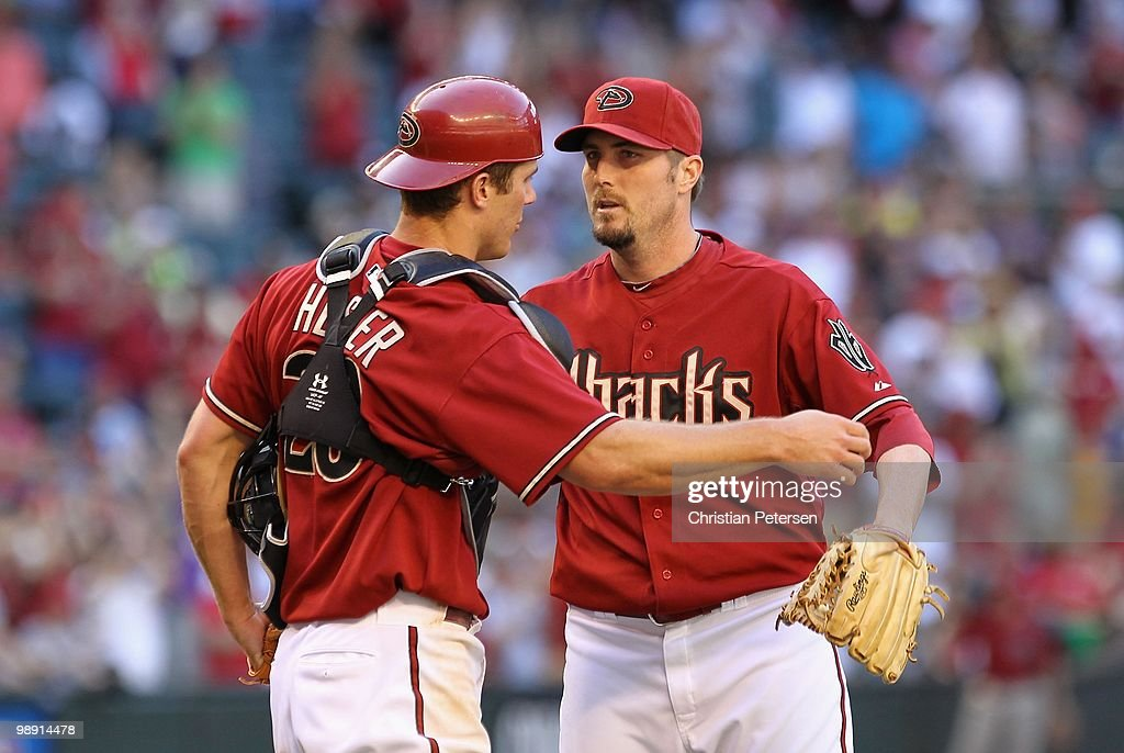 Relief pitcher <a gi-track='captionPersonalityLinkClicked' href=/galleries/search?phrase=Chad+Qualls&family=editorial&specificpeople=588432 ng-click='$event.stopPropagation()'>Chad Qualls</a> #50 of the Arizona Diamondbacks reacts after defeating the Philadelphia Phillies in the Major League Baseball game at Chase Field on April 25, 2010 in Phoenix, Arizona. The Diamondbacks defeated the Phillies 8-6.