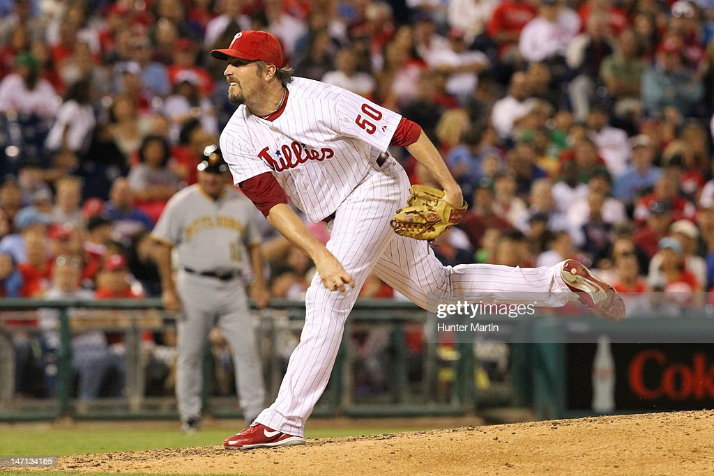 Relief pitcher <a gi-track='captionPersonalityLinkClicked' href=/galleries/search?phrase=Chad+Qualls&family=editorial&specificpeople=588432 ng-click='$event.stopPropagation()'>Chad Qualls</a> #50 of the Philadelphia Phillies throws a pitch during a game against the Pittsburgh Pirates at Citizens Bank Park on June 25, 2012 in Philadelphia, Pennsylvania. The Phillies won 8-3.