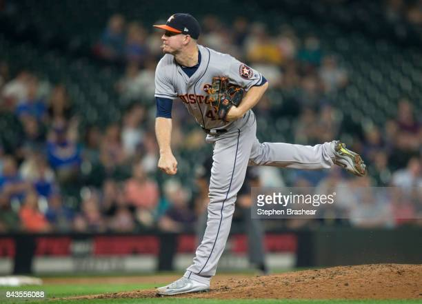 Relief pitcher Chris Devenski of the Houston Astros delivers a pitch during the ninth inning game against the Seattle Mariners at Safeco Field on...