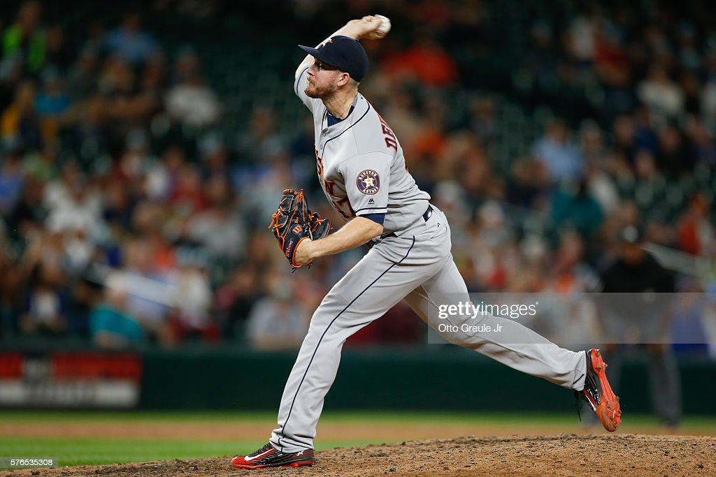Relief pitcher Chris Devenski #47 of the Houston Astros pitches against the Seattle Mariners in the ninth inning at Safeco Field on July 15, 2016 in Seattle, Washington. The Astros defeated the Mariners 7-3.
