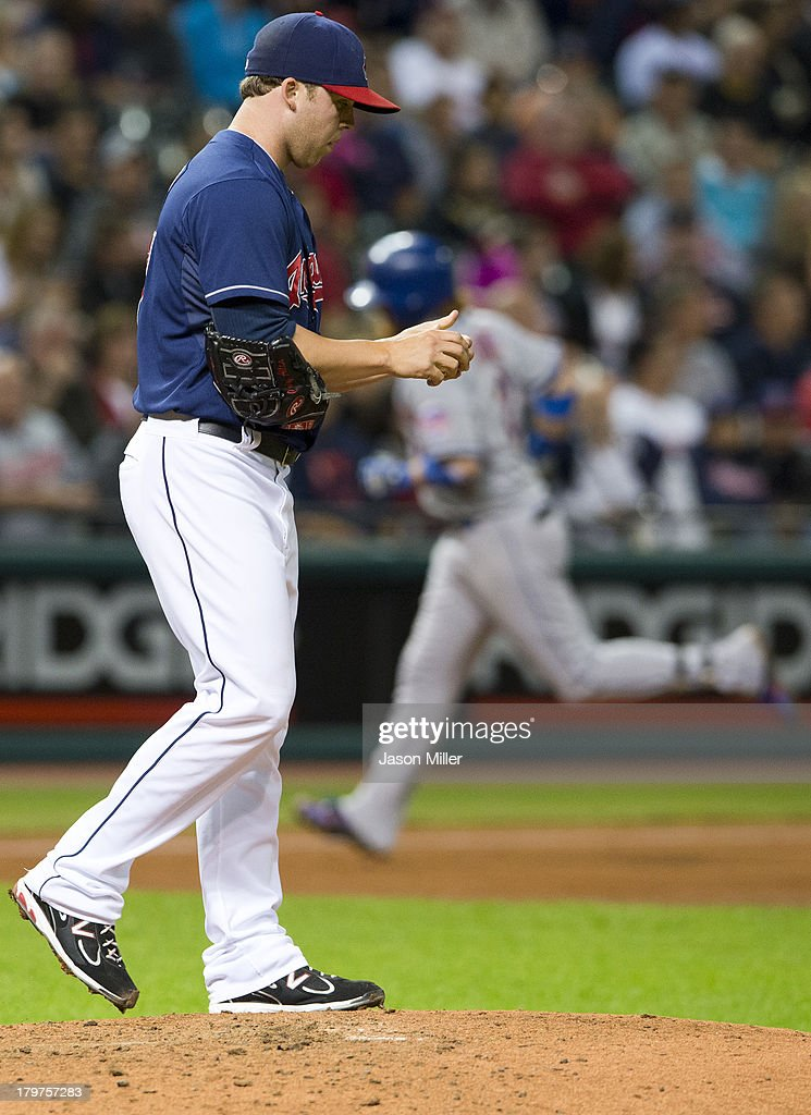 Relief pitcher Cody Allen #37 of the Cleveland Indians reacts after giving up a solo home run to <a gi-track='captionPersonalityLinkClicked' href=/galleries/search?phrase=Justin+Turner&family=editorial&specificpeople=550296 ng-click='$event.stopPropagation()'>Justin Turner</a> #2 of the New York Mets during the seventh inning at Progressive Field on September 6, 2013 in Cleveland, Ohio.