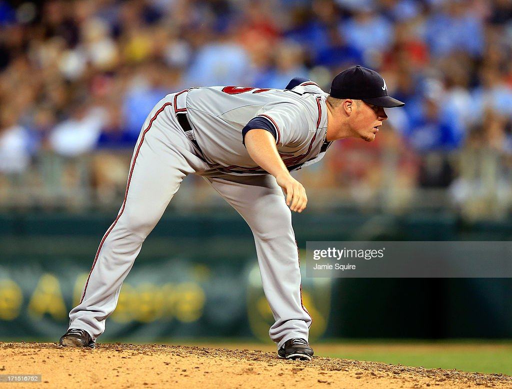 Relief pitcher <a gi-track='captionPersonalityLinkClicked' href=/galleries/search?phrase=Craig+Kimbrel&family=editorial&specificpeople=6795784 ng-click='$event.stopPropagation()'>Craig Kimbrel</a> #46 of the Atlanta Braves prepares to deliver a pitch during the game against the Kansas City Royals at Kauffman Stadium on June 25, 2013 in Kansas City, Missouri.