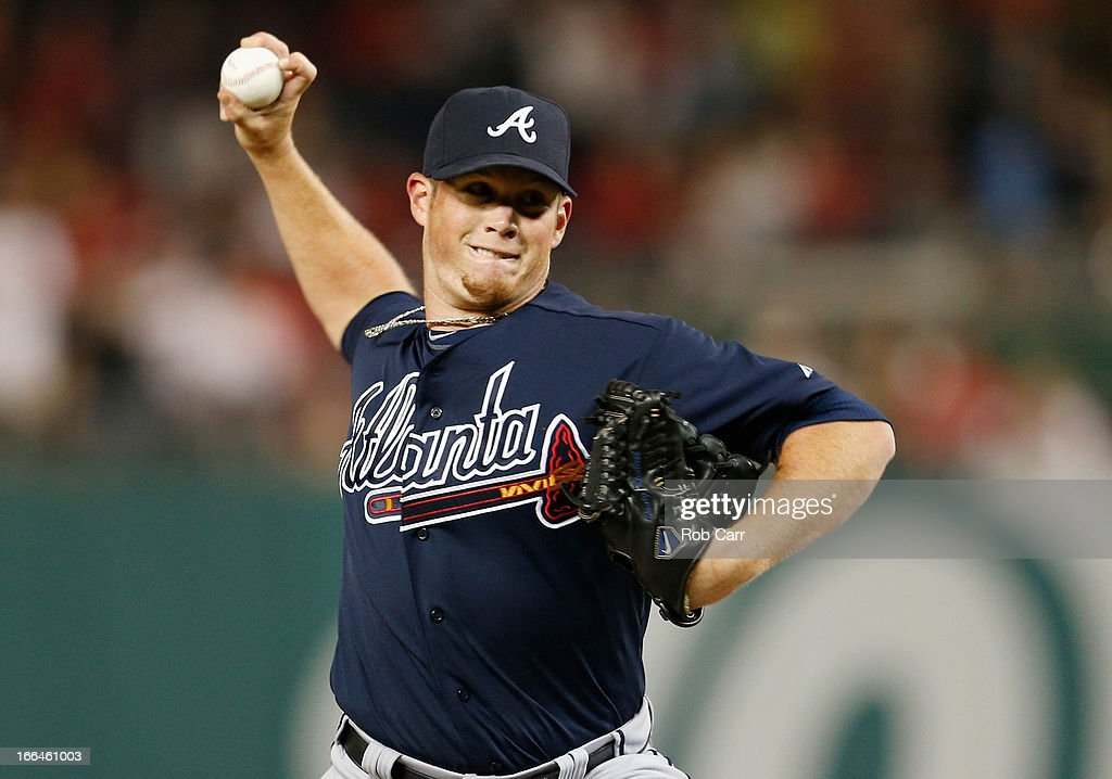Relief pitcher <a gi-track='captionPersonalityLinkClicked' href=/galleries/search?phrase=Craig+Kimbrel&family=editorial&specificpeople=6795784 ng-click='$event.stopPropagation()'>Craig Kimbrel</a> #46 of the Atlanta Braves throws to a Washington Nationals batter during the tenth inning of the Braves 6-4 win at Nationals Park on April 12, 2013 in Washington, DC.