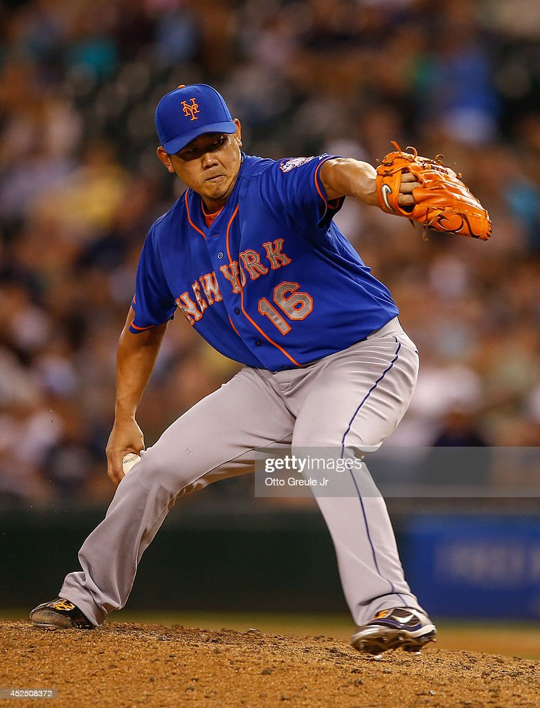 Relief pitcher Daisuke Matsuzaka #16 of the New York Mets pitches in the seventh inning against the Seattle Mariners at Safeco Field on July 21, 2014 in Seattle, Washington.