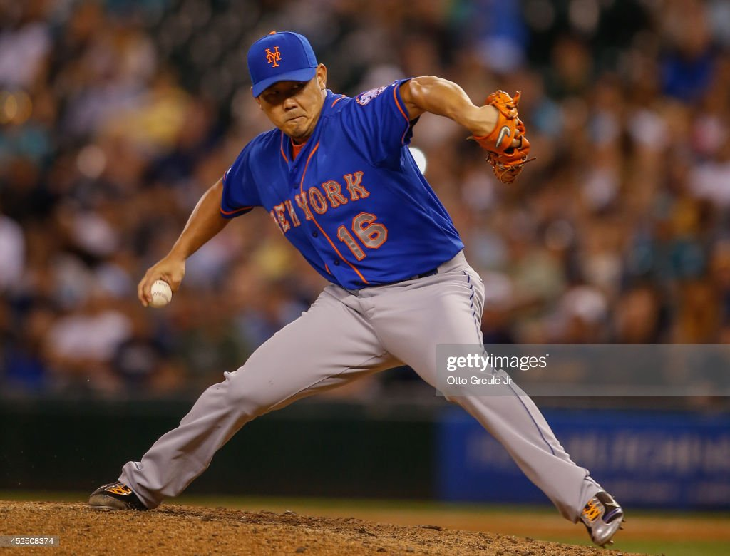 Relief pitcher Daisuke Matsuzaka of the New York Mets pitches in the seventh inning against the Seattle Mariners at Safeco Field on July 21 2014 in...