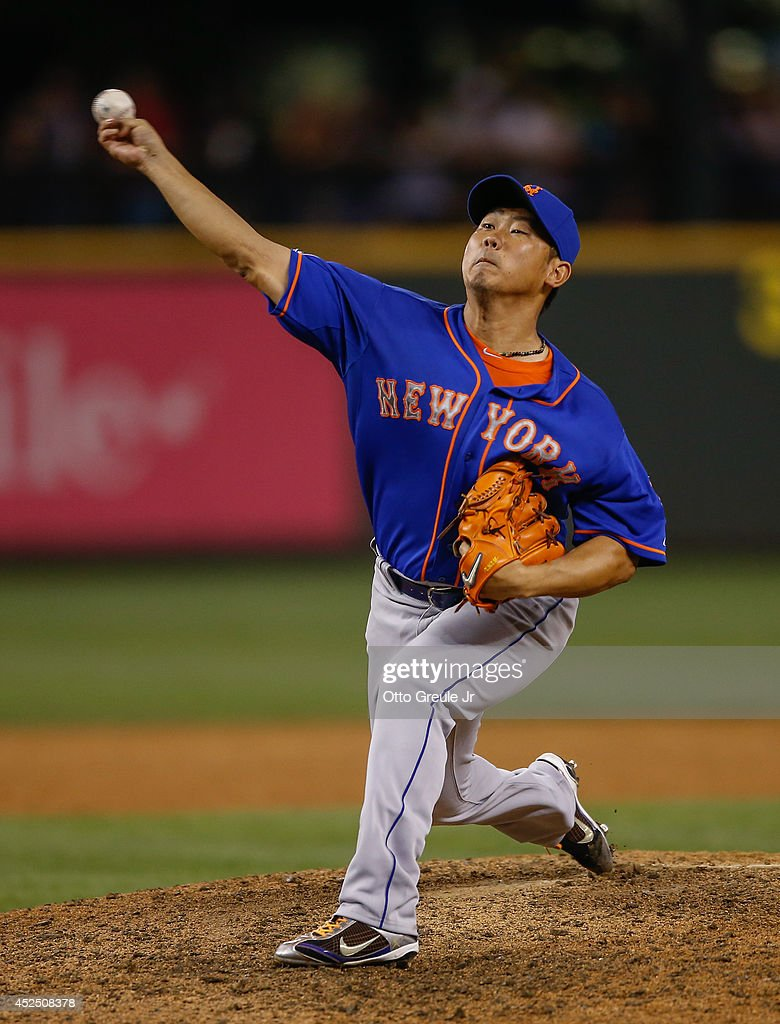 Relief pitcher Daisuke Matsuzaka #16 of the New York Mets pitches in the eighth inning against the Seattle Mariners at Safeco Field on July 21, 2014 in Seattle, Washington.