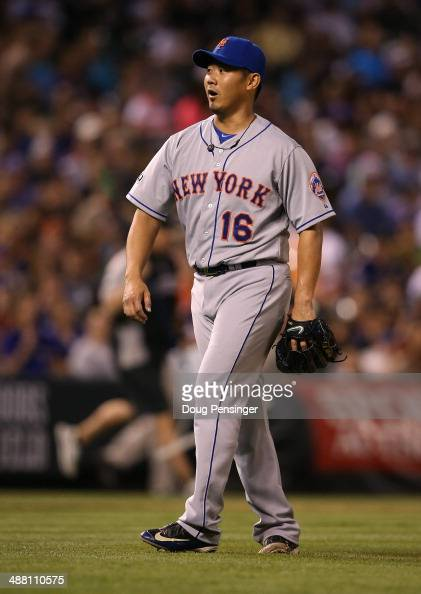 Relief pitcher Daisuke Matsuzaka of the New York Mets reacts as right fielder Curtis Granderson of the New York Mets catches a long fly ball by Drew...