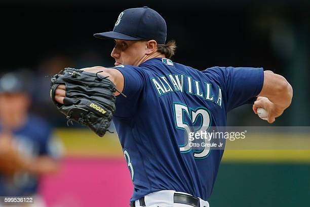 Relief pitcher Dan Altavilla of the Seattle Mariners pitches against the Texas Rangers in the ninth inning at Safeco Field on September 5 2016 in...