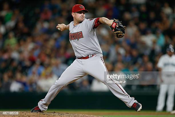 Relief pitcher Daniel Hudson of the Arizona Diamondbacks pitches in the ninth inning against the Seattle Mariners at Safeco Field on July 27 2015 in...