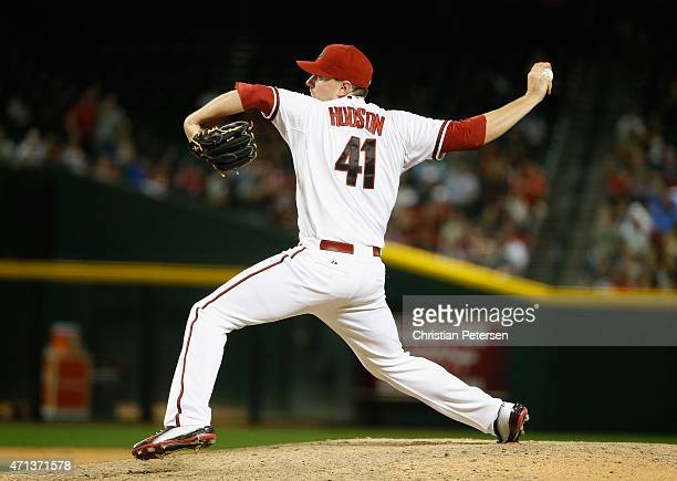 Relief pitcher Daniel Hudson of the Arizona Diamondbacks pitches against the Texas Rangers during the MLB game at Chase Field on April 21 2015 in...