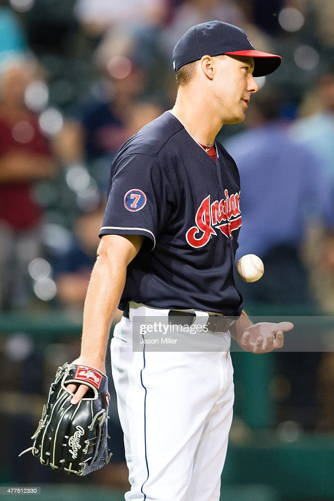 Relief pitcher <a gi-track='captionPersonalityLinkClicked' href=/galleries/search?phrase=David+Murphy+-+Baseball+Player&family=editorial&specificpeople=4604222 ng-click='$event.stopPropagation()'>David Murphy</a> #7 of the Cleveland Indians reacts after giving up a grand slam during the ninth inning against the Chicago Cubs at Progressive Field on June 17, 2015 in Cleveland, Ohio.