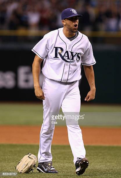 Relief pitcher David Price of the Tampa Bay Rays celebrates after defeating the Boston Red Sox in game seven of the American League Championship...