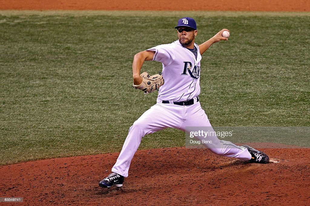 Relief pitcher <a gi-track='captionPersonalityLinkClicked' href=/galleries/search?phrase=David+Price+-+Baseball+Player&family=editorial&specificpeople=4961936 ng-click='$event.stopPropagation()'>David Price</a> #14 of the Tampa Bay Rays delivers a pitch against the Boston Red Sox in game seven of the American League Championship Series during the 2008 MLB playoffs on October 19, 2008 at Tropicana Field in St Petersburg, Florida. The Rays defeated the Red Sox 3-1 to win the series 4-3.