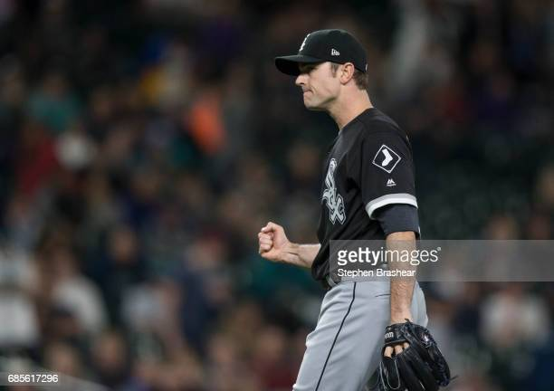 Relief pitcher David Robertson of the Chicago White Sox reacts after getting the final out in a game Mariners at Safeco Field on May 19 2017 in...