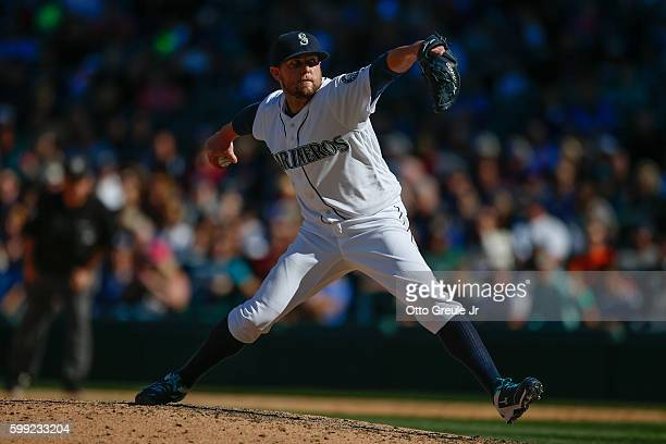 Relief pitcher Drew Storen of the Seattle Mariners pitches against the Los Angeles Angels of Anaheim in the ninth inning at Safeco Field on September...