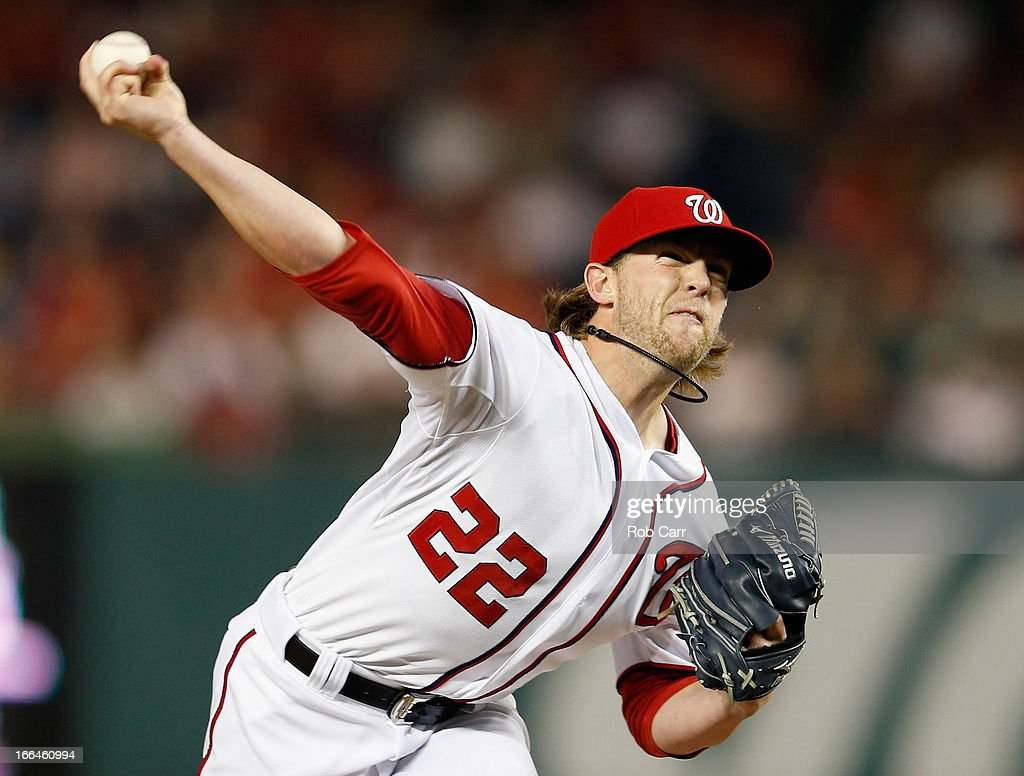 Relief pitcher <a gi-track='captionPersonalityLinkClicked' href=/galleries/search?phrase=Drew+Storen&family=editorial&specificpeople=5926519 ng-click='$event.stopPropagation()'>Drew Storen</a> #22 of the Washington Nationals throws to a Atlanta Braves batter during the ninth inning of the Braves 6-4 win at Nationals Park on April 12, 2013 in Washington, DC.