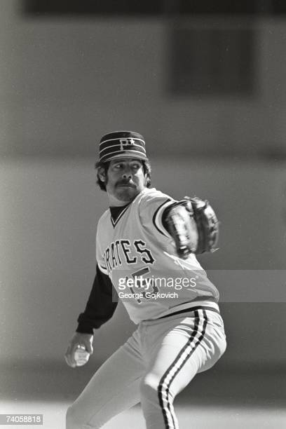 Relief pitcher Enrique Romo of the Pittsburgh Pirates in action during a Major League Baseball game at Three Rivers Stadium circa 1979 in Pittsburgh...