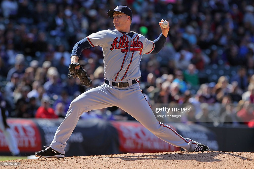 Relief pitcher <a gi-track='captionPersonalityLinkClicked' href=/galleries/search?phrase=Eric+O%27Flaherty&family=editorial&specificpeople=2191782 ng-click='$event.stopPropagation()'>Eric O'Flaherty</a> #34 of the Atlanta Braves delvers against the Colorado Rockies at Coors Field on April 24, 2013 in Denver, Colorado. The Rockies defeated the Braves 6-5 in 12 innings.