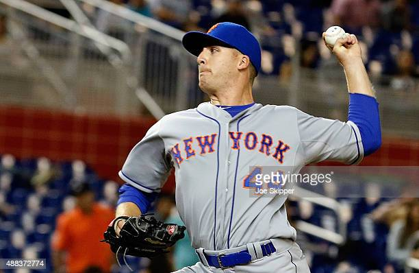Relief pitcher Eric O'Flaherty of the New York Mets throws in the 11th inning against the Miami Marlins at Marlins Park on September 4 2015 in Miami...