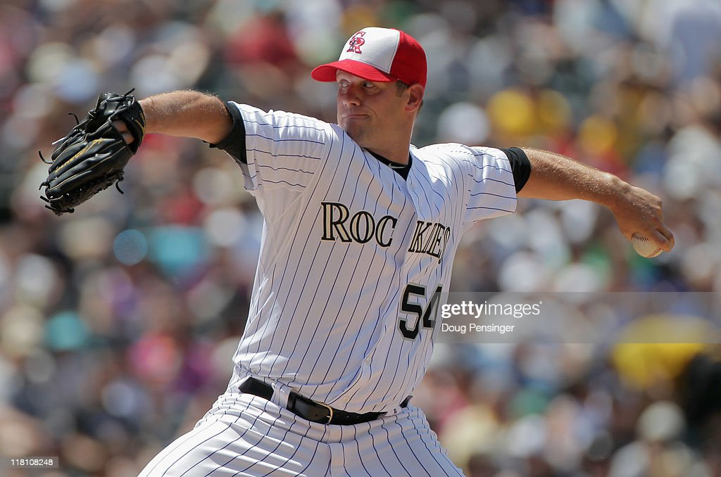 Relief pitcher Eric Stults #54 of the Colorado Rockies delivers against the Kansas City Royals during Interleague play at Coors Field on July 3, 2011 in Denver, Colorado. The Royals defeated the Rockies 16-8.