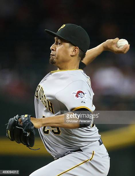 Relief pitcher Ernesto Frieri of the Pittsburgh Pirates pitches against the Arizona Diamondbacks during the MLB game at Chase Field on August 2 2014...